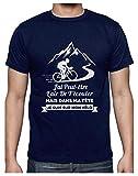 T-Shirt Cyclisme Homme - dans Ma Tête Je suis sur Mon Vélo - Humour T-Shirt Homme Large Marine