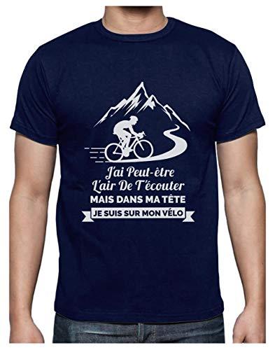 Vêtement Cycliste Homme dans Ma Tête Je suis sur Mon Vélo T-Shirt Homme Medium Marine