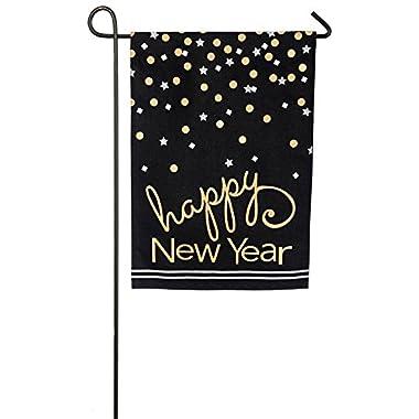 Evergreen Happy New Year Confetti Burlap Garden Flag, 12.5 x 18 inches