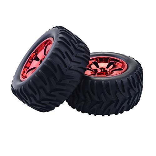 dailymall 2 Ruedas Y Neumáticos de Goma Bigfoot para HSP HPI 1/8 RC Monster Truck Repuestos - Estilo 1 Rojo