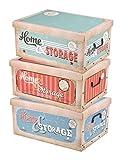 Spetebo 3er Set Aufbewahrungsbox in 3 Farben und Retro Dekor mit jeweils 45 Liter Inhalt - Deko Box...