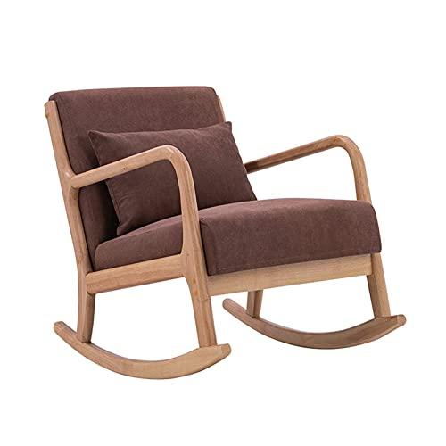 KUYH Silla mecedora para sala de estar, sillón de madera, almuerzo familiar para ocio, balcón, terraza, oficina, color marrón