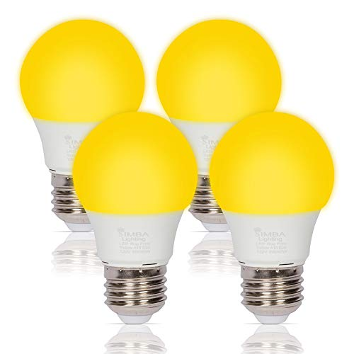 Simba Lighting LED Bug Non-Attracting Yellow Bulb 5W 40W Equivalent (4 Pack), Great for Outdoor Porch Light, Patio, Security, Night Light, Amber Warm 2000K, Compact A15 Shape E26 Medium Base