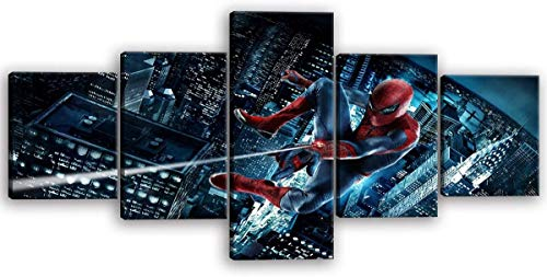 Spider-Man Canvas Wall Art Home Decor Modern HD Printed Painting Spiderman Picture Room Decor Stretched and Framed Wall Decor Ready to Hang for Children's Room Kid Room 5 Pieces -50''Wx24''H
