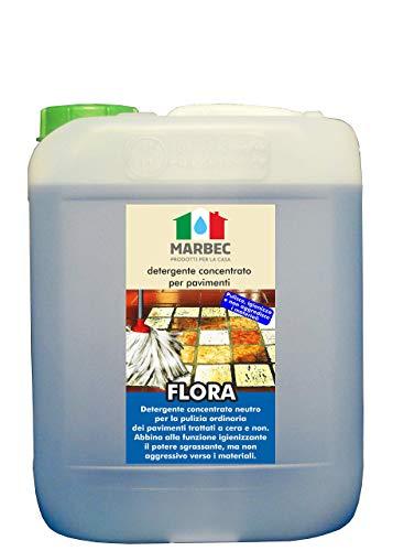 Marbec - Flora 5LT | Detergente igienizzante concentrato Neutro per Pavimenti in Cotto e Pietra