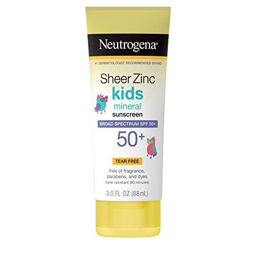 Neutrogena Sheer Zinc Oxide Kids Mineral Sunscreen Lotion, Broad Spectrum SPF 50+ with UVA/UVB Protection, Water-Resistant for 80 Minutes, Paraben-, Dye-, Fragrance- & Tear Free, 3 fl. oz