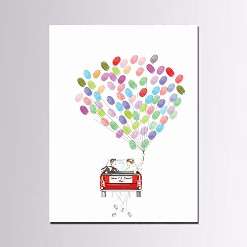 ZDDT Boda DIY Huella Digital Árbol Libro de Visitas Pintura Creativa Boda Significativa Fiesta de Cumpleaños Invitado Firma Libro Lienzo Fecha y Nombre Personalizables