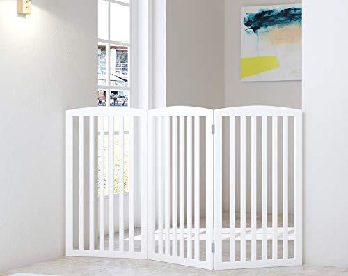 PAWLAND Holzgitter für Hunde, freistehend, faltbar, 3 Paneele, 91 cm hoch, Hundegitter für Haus, Tür, Treppen, extra breit und hoch, Weiß