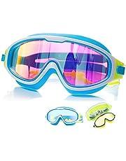 Swim Goggles Kids (Age 3-14) No Leak Swim Goggles Clear Vision Anti Glare Fog UV Soft Silicone Frame Adjustable Strap with earplugs
