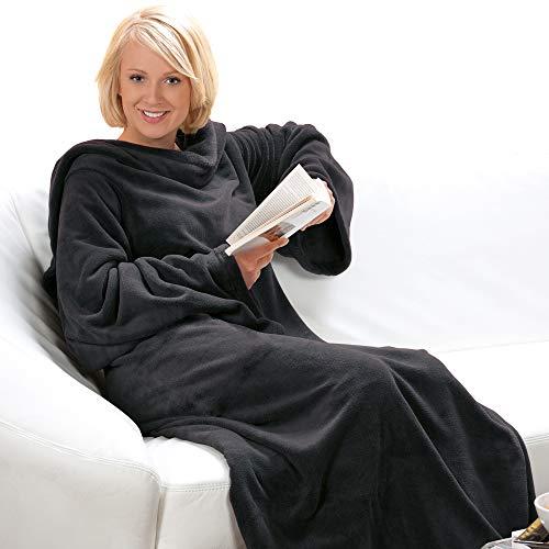 DILUMA Kuscheldecke mit Ärmeln XXL 150x240 cm Anthrazit - Mikrofaser Cashmere Touch Ärmeldecke - Weiche und Warme Wohndecke - Decke zum Anziehen für Kinder und Erwachsene - Tragbare Decke