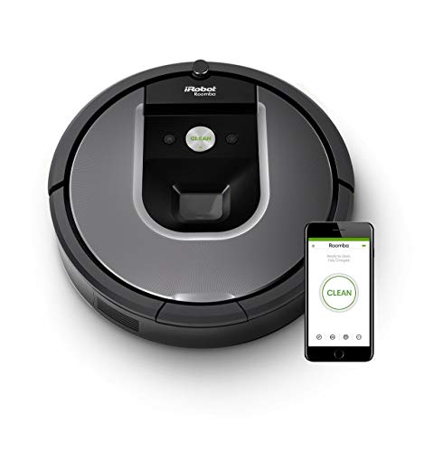 iRobot Roomba 960 der Volks-Saugroboter mit starker Saugkraft, 2 Multibodenbürsten, Navigation für mehrere Räume, lädt sich auf und setzt Reinigung fort, Ideal für Tierhaare, App-Steuerung,Dirt Detect