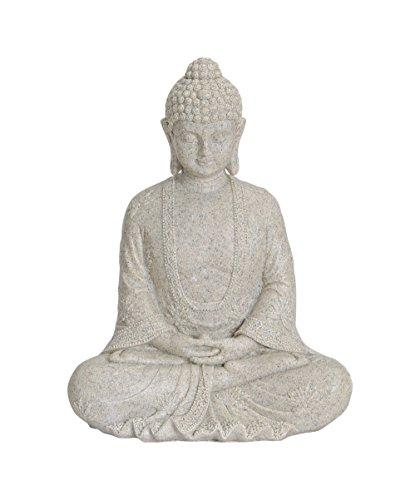 Figura de Buda sentado, 23cm en color beige, artículo de decoración para casa o jardín, escultura ideal para salón o como regalo, resistente a la intemperie, Feng Shui