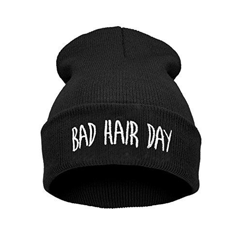 ELEGANCE PARISIENNE Bad Hair Day Beanie Mütze Haube Wintermütze Strickmütze Einstickung Cool Modisch, Schwarz, one size