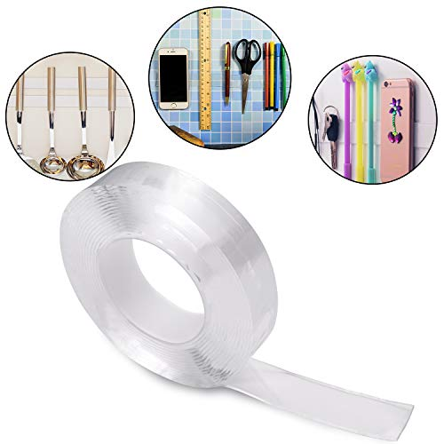 Double Sided Gel Tape Clear Washable Grip Tape Adhesive Gel Tape Roll Anti-Slip Traceless Tape for Home Supplies (2 m/ 6.56 ft Long, 1 mm Thick)