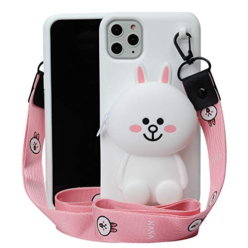 Cartoon Case for iPhone 11 Pro Max 6.5',Phenix-Color 3D Cute Soft Silicone Animated Kawaii Protective Gel Back Cover with Pocket and Necklace for iPhone 11 Pro Max 6.5'(Cony, iPhone 11 Pro Max 6.5')