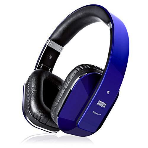 August EP650–Auriculares Bluetooth Inalámbrico–Auriculares Diadema Casco Plegable-Sonido Estéreo Bass Rich-Auriculares Orejeras Cómodas con NFC y aptX,Color Azul