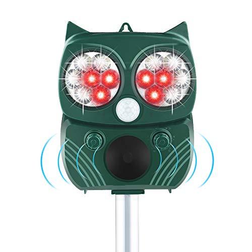 JTENG Katzenschreck Tiervertreiber, wasserdichte Ultraschall Abwehr Solar Tierabwehr, 5 Modus einstellbar, Für Hunde, Katzen, Füchse, Mäuse, Vögel, Skunks usw