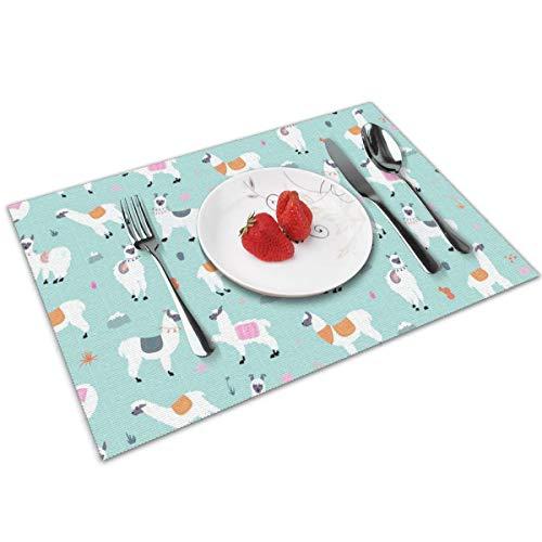N/A Llama Mint Groen Oogschaduw Plaats Matten PVC Placemats Wasbaar Bamboe Tafel Placemats Set van 4 Duurzaam voor keukentafel
