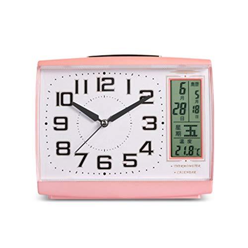 Reloj de Escritorio Analógico Reloj despertador de lujo Pantalla LCD Fecha Temperatura y humedad Pantalla digital Lazy Sleepy Night Light Sleep Timer Reloj de Escritorio Silencioso ( Color : Pink )