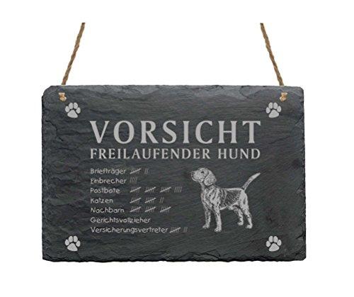 Schiefertafel « BEAGLE - VORSICHT FREILAUFENDER HUND » Größe ca. 22 x 16 cm - Schild mit Hunde Motiv - Türschild Dekoschild Terrasse Garten Haustür Tür Tor Eingang