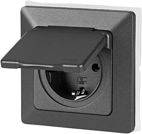 UP Feuchtraum Steckdose mit Feder-Klappdeckel IP44 - All-in-One - Rahmen + Einsatz + Abdeckung + Silikonring - P1 anthrazit