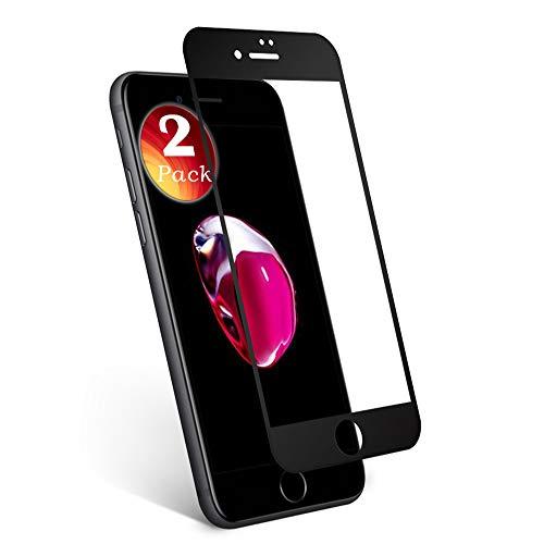 2 Pack Pellicola Vetro Temperato Compatibile con iPhone 7 Protezione Dello Schermo. aiMaKE Pellicola Protettiva Premium Display per iPhone 7,Oleorepellente Ultra Sottile da Bordo a Bordo Nero (Black)