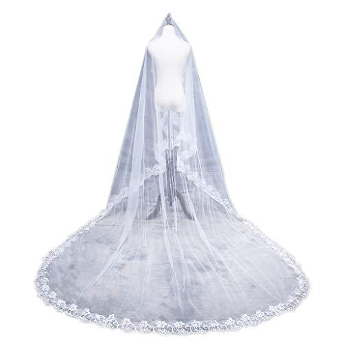 Noband JSFGFSDH 1.5/2/3/5M 1 capa para mujer nupcial blanco ultra largo boda tul velo ancho bordado hexagonal floral apliques borde matrimonio sólido sin peine