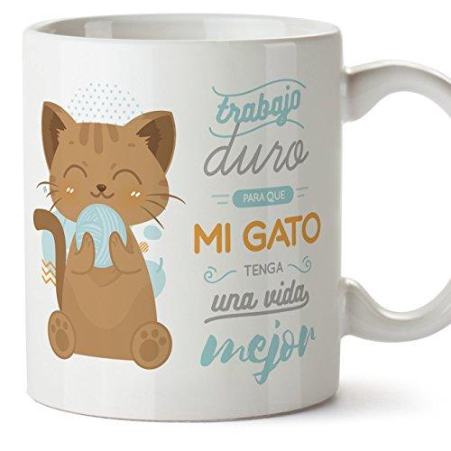 MUGFFINS Tazas Desayuno Originales graciosas para Amantes de los Gatos - Trabajo Duro para Que mi Gato Tenga una Vida Mejor - Regalo molón Gatos 350
