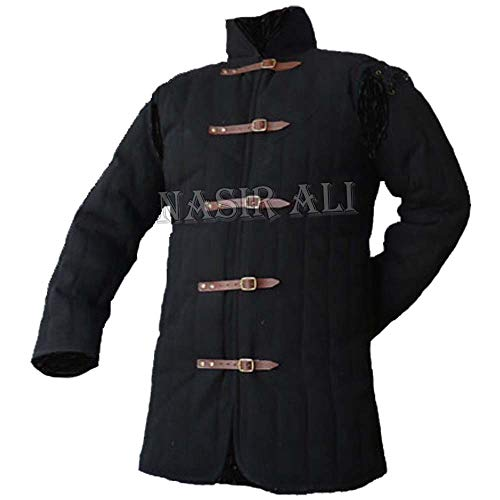 NASIR ALI Brand Thick Black Color Gambeson Medieval Padded Full Sleeves Cotton Armor Role Play