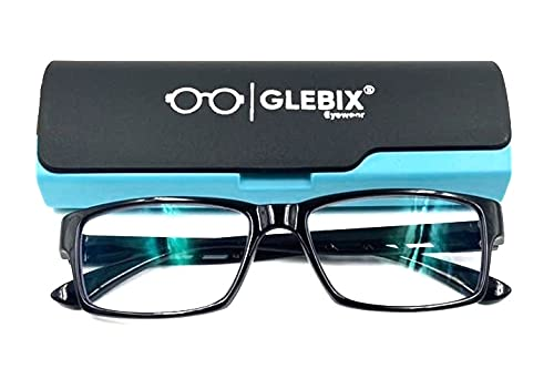 GLEBIX Blue Light Blocking Glasses, Zero power glasses Square Eyewear spectacles Anti UV Ray Eye protection Computer Gaming Eyeglasses Women/Men
