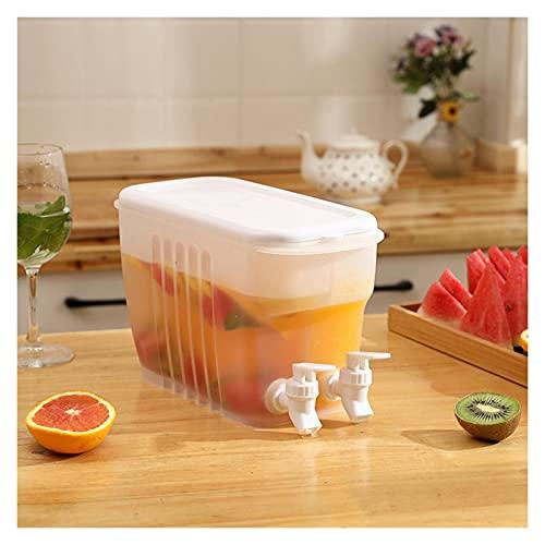 Jarra de Agua de 3,5 l con grifos Dobles, hervidor de Agua fría, Tetera de Frutas, Cubo de Limonada, Recipiente para Vasos de Gran Capacidad para Cocina