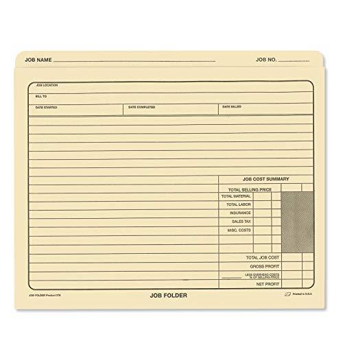 "(Pack of 50) Classic Manila File Jacket 10"" x 12"" Job Folders – Heavy Duty - Preprinted to Track Job Progress, Calculating Cost, and Customer Correspondences"