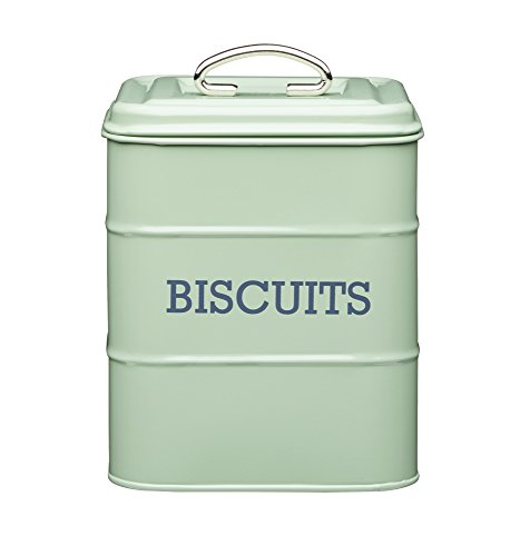 KitchenCraft Living Nostalgia Metal Biscuit Tin, Steel, Green, 14 x 14 x 19 cm