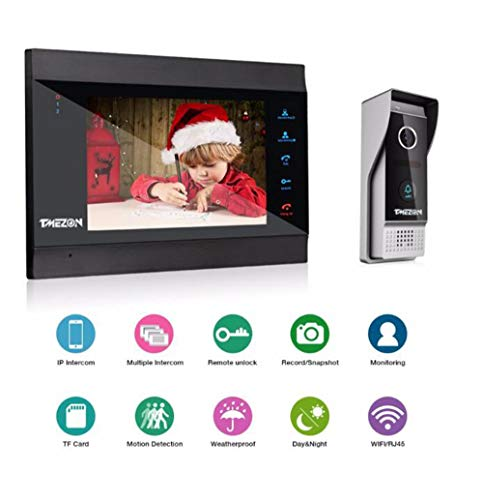 Duiji 7 Inch Wireless/WiFi Smart IP Video Door Phone Intercom System with 1x1200TVL Wired Doorbell Camera,Support Remote Unlock