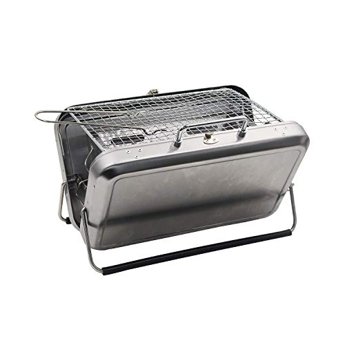 Portable Charcoal Grill Small Barbecue Grill Suitcase Stainless Steel Folding BBQ Grill Charcoal for Camping Cooking Outdoor Picnic Tabletop Charcoal Grill for Family Party