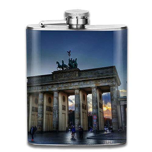 Presock Flachmann,Stainless Steel Hip Flask 7 Oz (No Funnel) Brandenburger Tor Full Printed