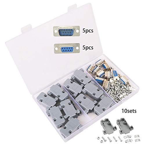 GTIWUNG 10 Stück DB9 Stecker, DB9 RS232 Seriell 9 Pin Adapter D-SUB Stecker Männlich/Weiblich Lötverbinder + DB9 Kunststoffgehäuse Abdeckung