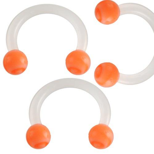 3er Set 1,2mm 8mm Orange Lippen Piercing Hufeisen Bio Flexibel Acryl Ohr Augenbraue Hantel Body Jewelry BCFJ