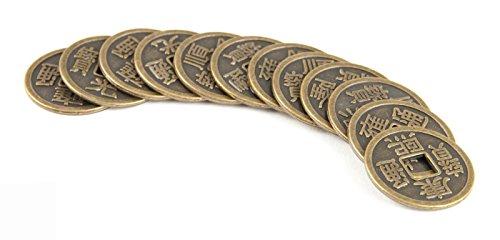 Chinesische Glücksmünzen im 12er Set, Münzen Ø 24 mm, Glückssymbol China Talisman Glücksbringer, Symbol für Reichtum Wohlstand Glück,
