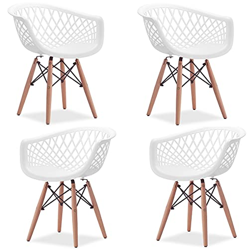 4 Cadeiras Poltronas Web Sidera Clarice Base DSW Eiffel madeira e aço (Branca)