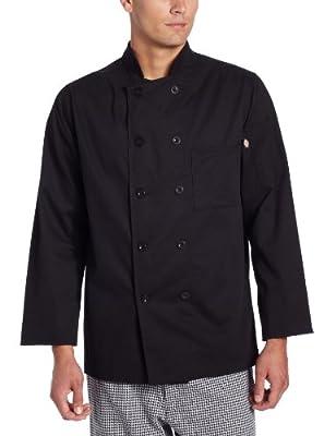Dickies Men's Giovanni Classic Chef Coat, Black, Large