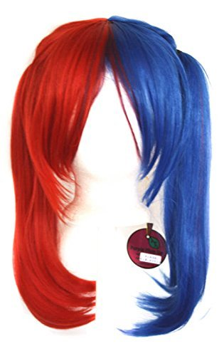 Xcoser Halloween Cosplay Costume Perruque Personality Red Blue Horsetail Cheveux Accessorise For Beauty