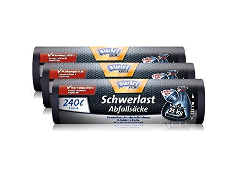 Swirl Profi Schwerlast-Abfallsäcke mit Zugband, 240 Liter, Reißfest, 3er Pack (3 x 5 Stück)