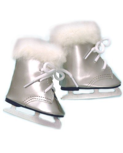 Doll Ice Skates, Fits 18 Inch American Girl Doll Shoes and More! 18 Inch Doll Silver Skates with Fur Trim