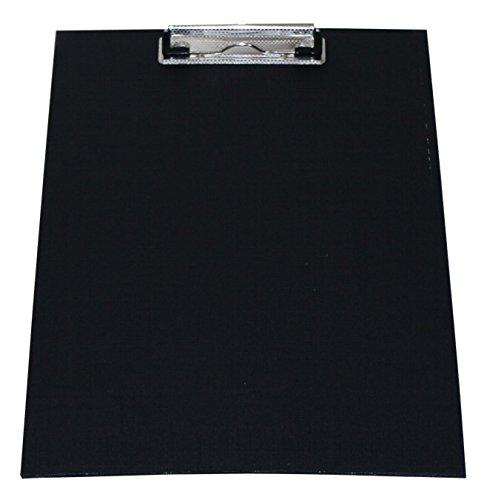 Klemmbrett/Schreibplatte/Klemmplatte A4 economy aus Graupappe, mit PVC-Folien-Überzug, mit Drahtbügelklemme, leinengeprägt, Farbe: schwarz - 10 Stück