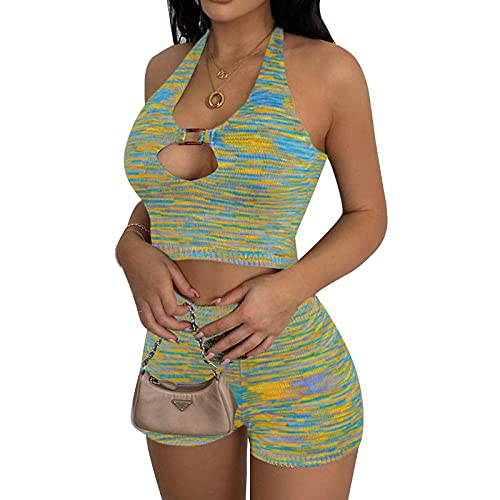 Conjuntos de entrenamiento de dos piezas para las mujeres acanaladas Tie Dye Y2K Tops Sexy Crop Halter Top+Pantalones cortos de cintura alta Yoga Ropa de playa