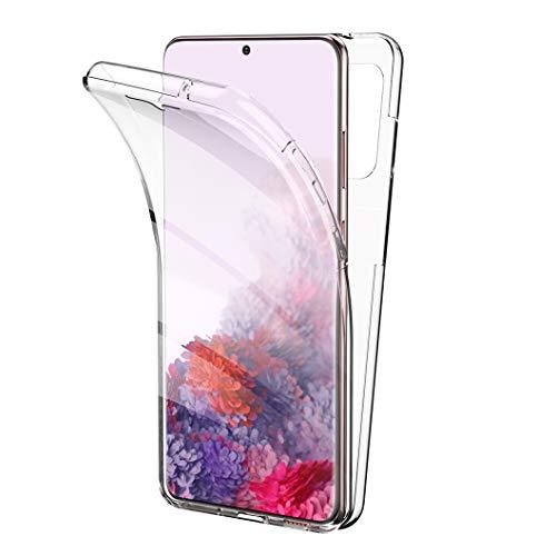 All Do Funda para Samsung Galaxy S20, 360 Grados Protección Diseñada, Transparente Ultrafino Silicona TPU Frente y PC Back Carcasa Belleza Original Funda de Doble Protección - Transparente