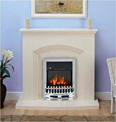 Cream MDF Fireplace Remote Controlled Chrome 2KW Electric Fire Total Height - 1052 mm Hearth Depth - 380 mm (widest point) Hearth Width - 1130 mm Opening Height - 560 mm Opening Width - 405 mm Requires Assembly