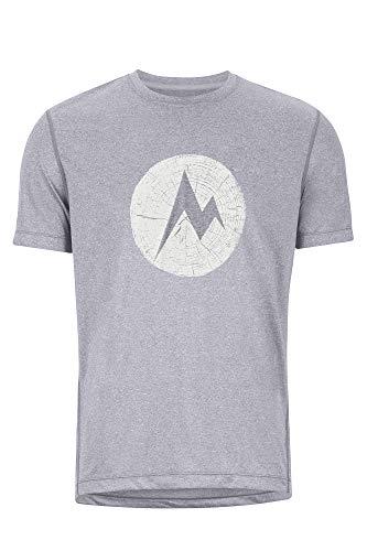 Marmot Transporter Tee SS T-Shirt Manche Courte, Chemise de randonnée, idéal pour Le Sport, la Gym, séchage Rapide, Respirant Homme, Steel Onyx Heather, FR : S (Taille Fabricant : S)