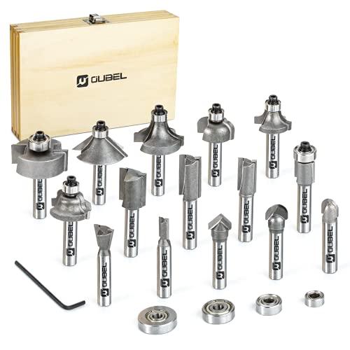 OUBEL Fräser Set, 16-teilig Oberfräser Set, 15-teilig 8mm Fräser mit 4-teilig Lager-Set und Innensechskantschlüssel, hergestellt von YG6X, für Elektro Oberfräsen,...